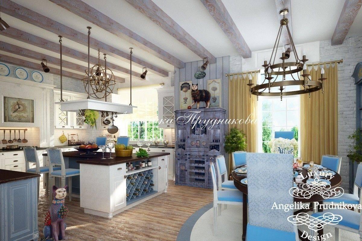 Дизайн загородного дома в стиле прованс. Фото интерьера кухни