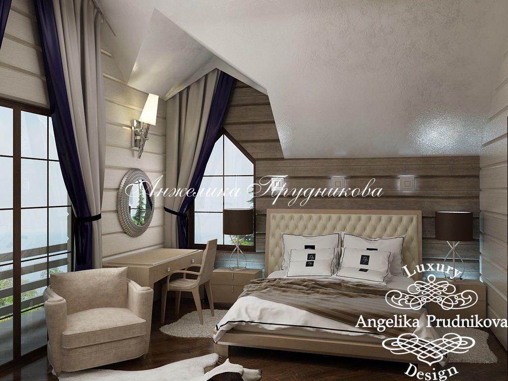 Дизайн дома из бруса. Фото спальни в деревянном доме от Анжелики Прудниковой