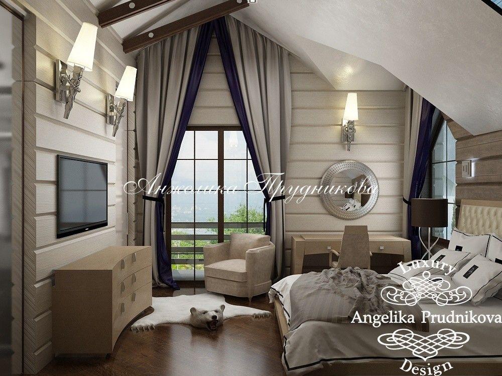 Дизайн деревянного дома. Фото бежевой спальни внутри